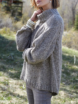 Grey Solid Long Sleeve Turtleneck Knitted plus size Sweater
