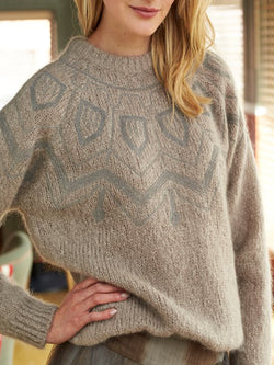 Brown Patchwork Printed/dyed Knitted Casual plus size Sweater