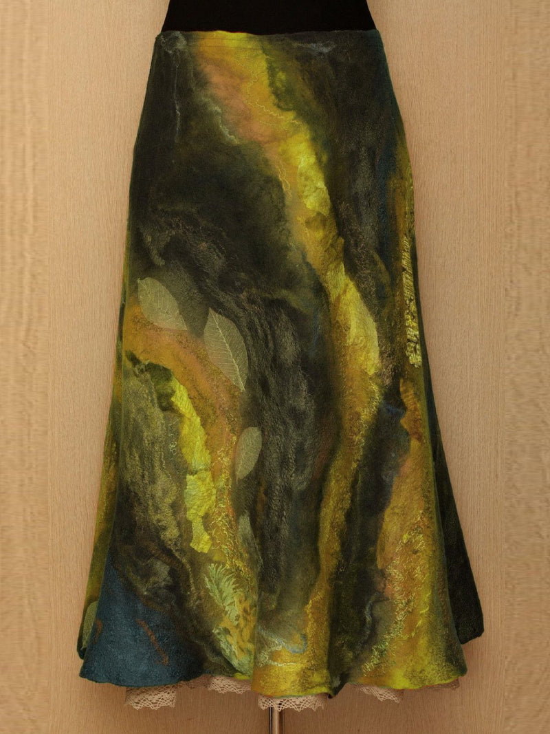 Orange Vintage Color-Block Cotton-Blend Ombre/tie-Dye plus size Skirts