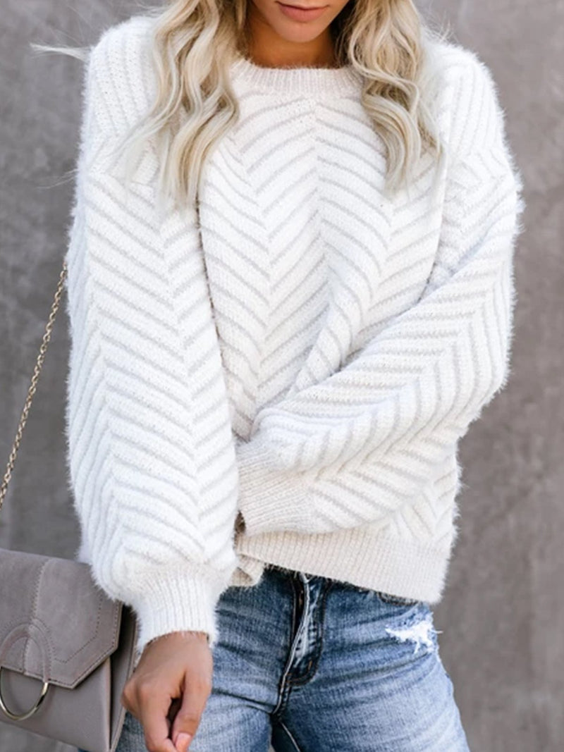 White Long Sleeve Solid plus size Sweater