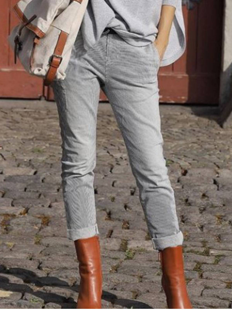 Solid Casual Cotton-Blend Pants