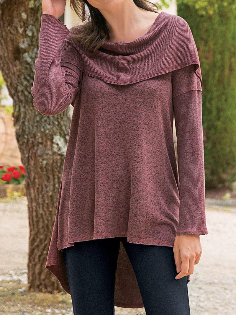 Purple Cotton-Blend Asymmetrical Long Sleeve Plus Sizw Sweatshirt