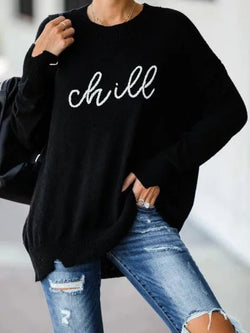 Black Casual Printed Knitted plus size Sweater