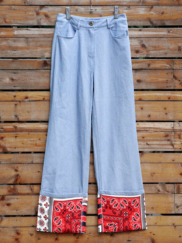 Blue Denim Boho Shift Pants