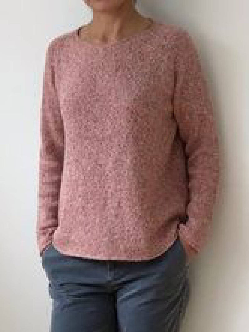 Pink Casual Round Neck Cotton-Blend Sweater