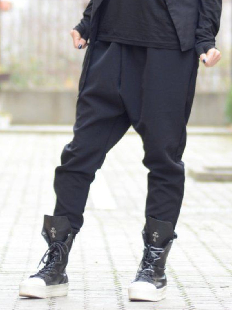 Black Casual Cotton-Blend Solid Pockets Pants