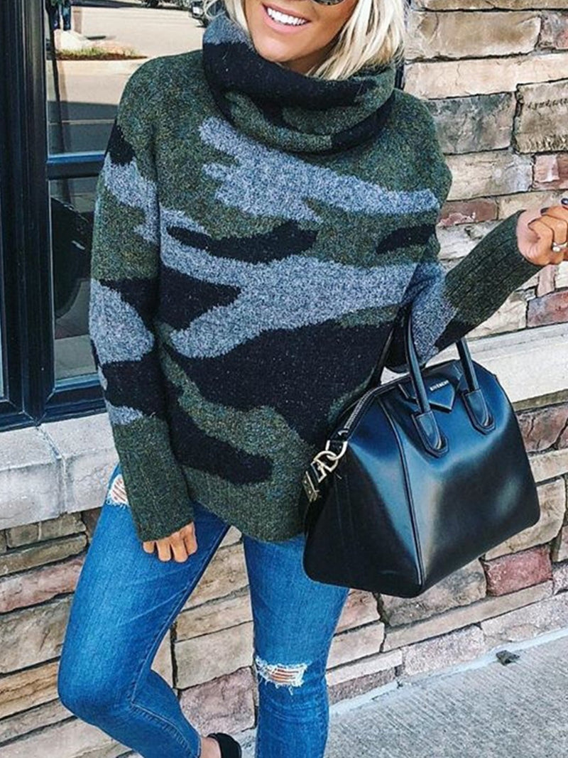 Camouflage Printed Long Sleeve Plus Size Casual Sweater