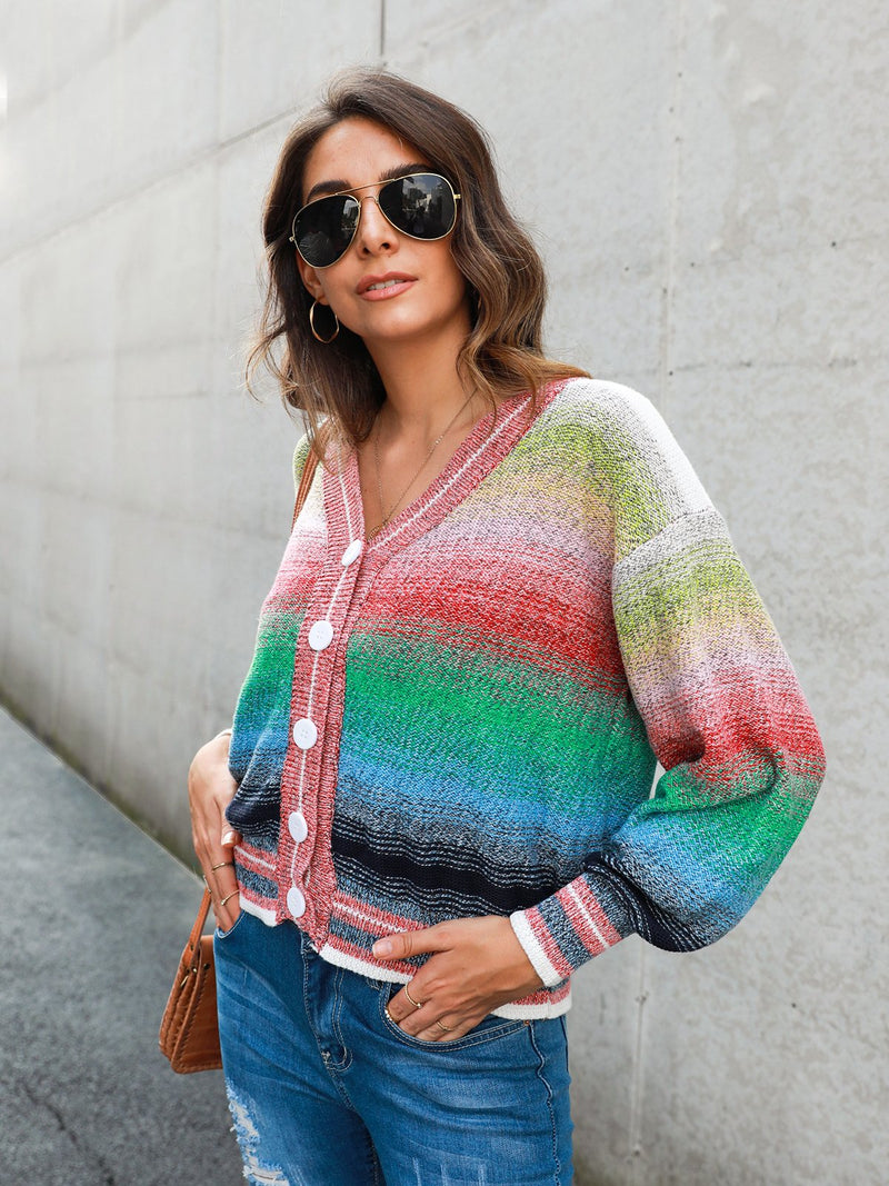 Ombre/tie-Dye Casual Shift Long Sleeve Outerwear