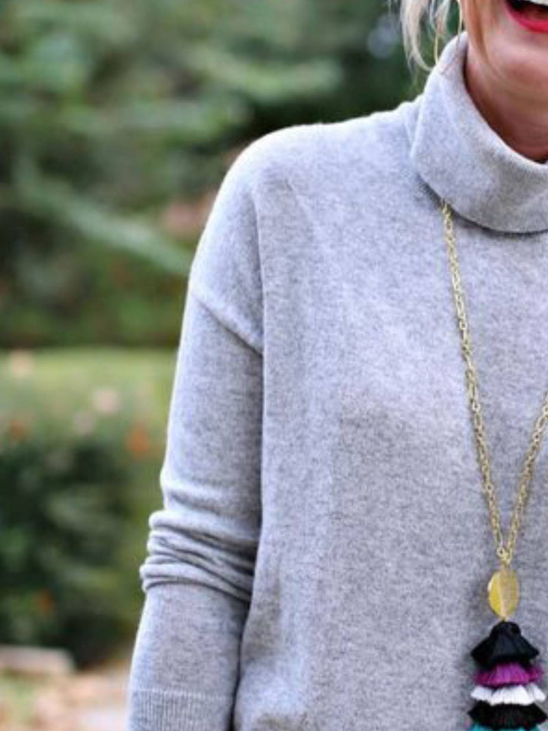 Gray Casual Turtleneck Long Sleeve Shirts & Tops
