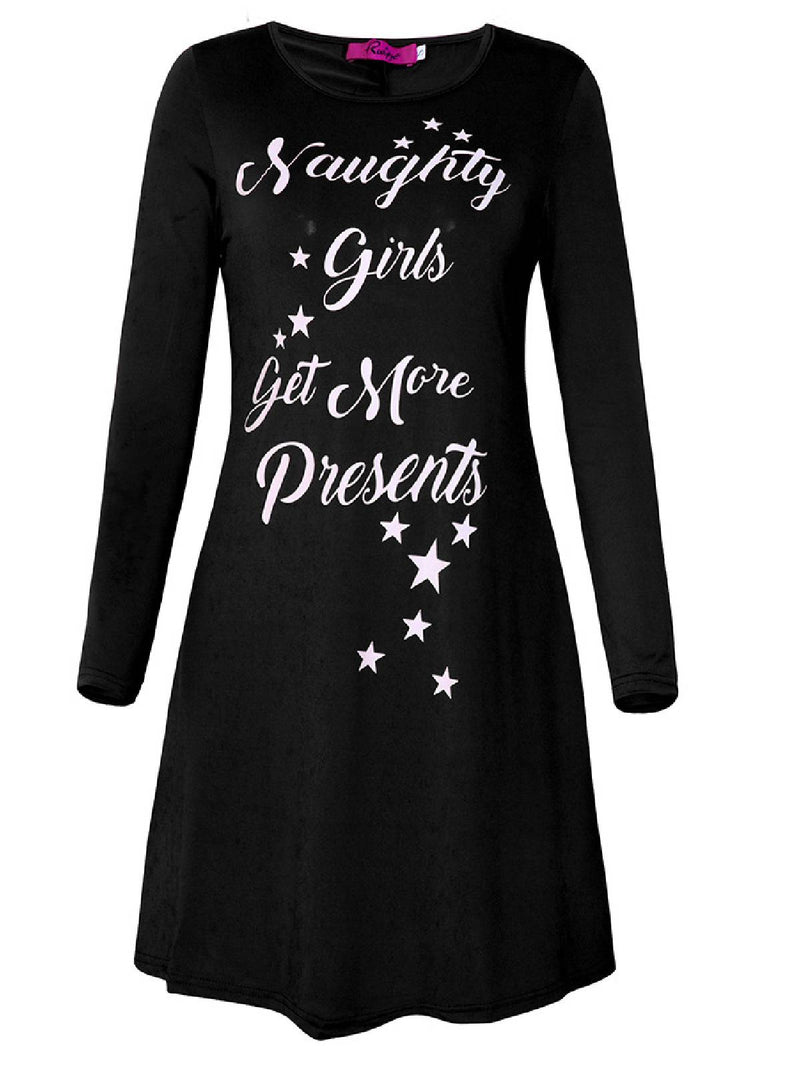 Long Sleeve Round Neck A-Line Dresses