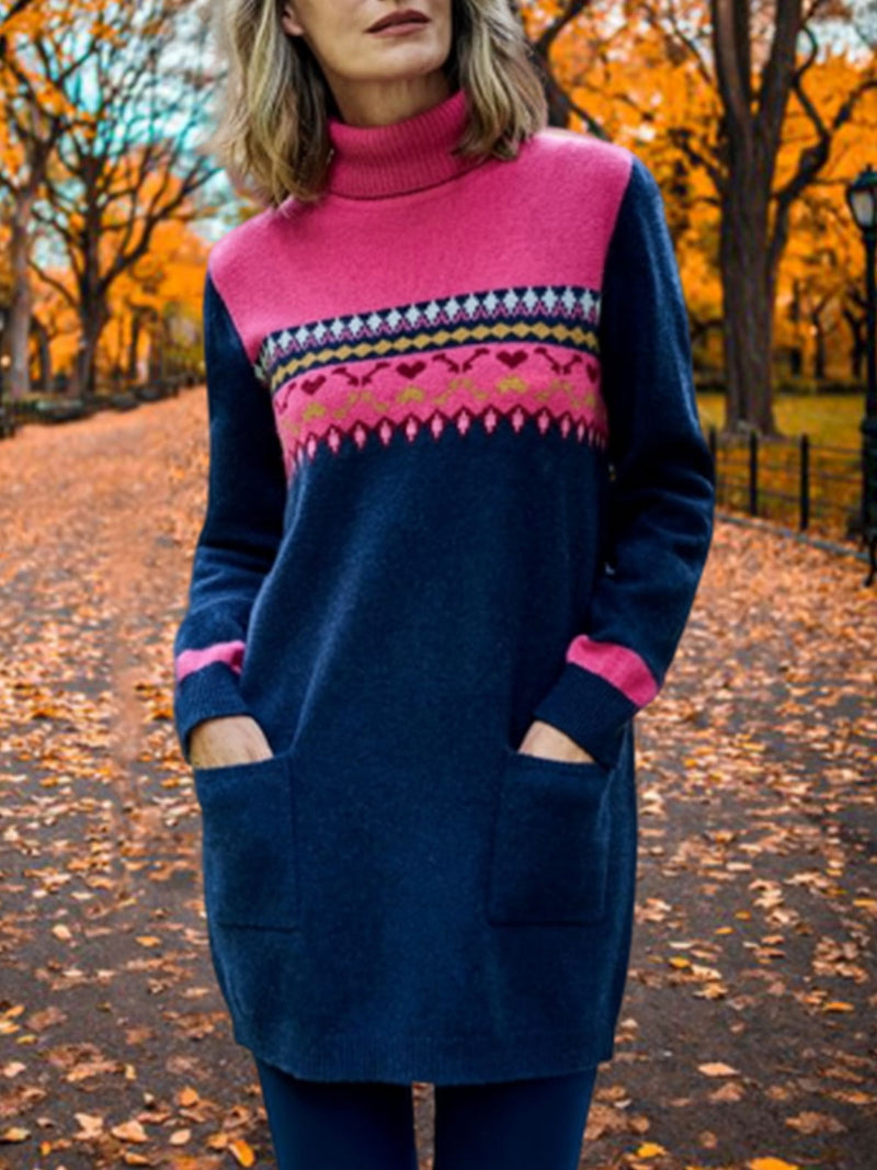 Multicolor Casual Color-Block Turtleneck Dresses