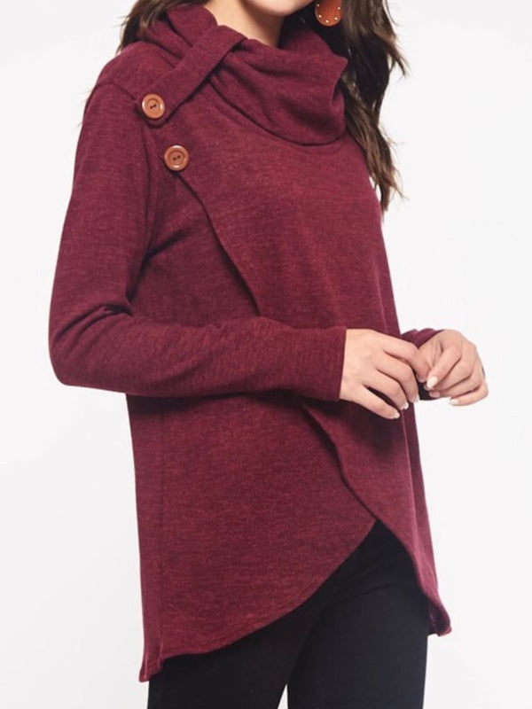 Wine Red Buttoned Solid Casual Cotton-Blend plus size Shirts & Tops