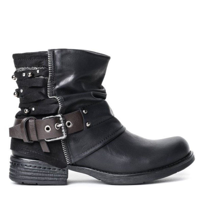 Women Leather Low Heel Buckle Strap Boots
