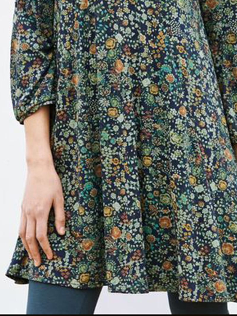Vintage Floral Cotton 3/4 Sleeve Dresses