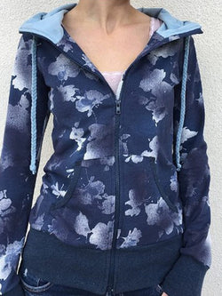 Blue Cotton-Blend Hoodie Ombre/tie-Dye Casual Outerwear
