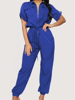 Casual Basic Daily Short Sleeve Long Leg Jumpsuit