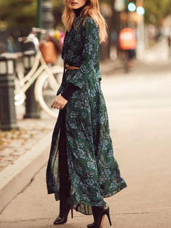 Green Casual Floral Dresses