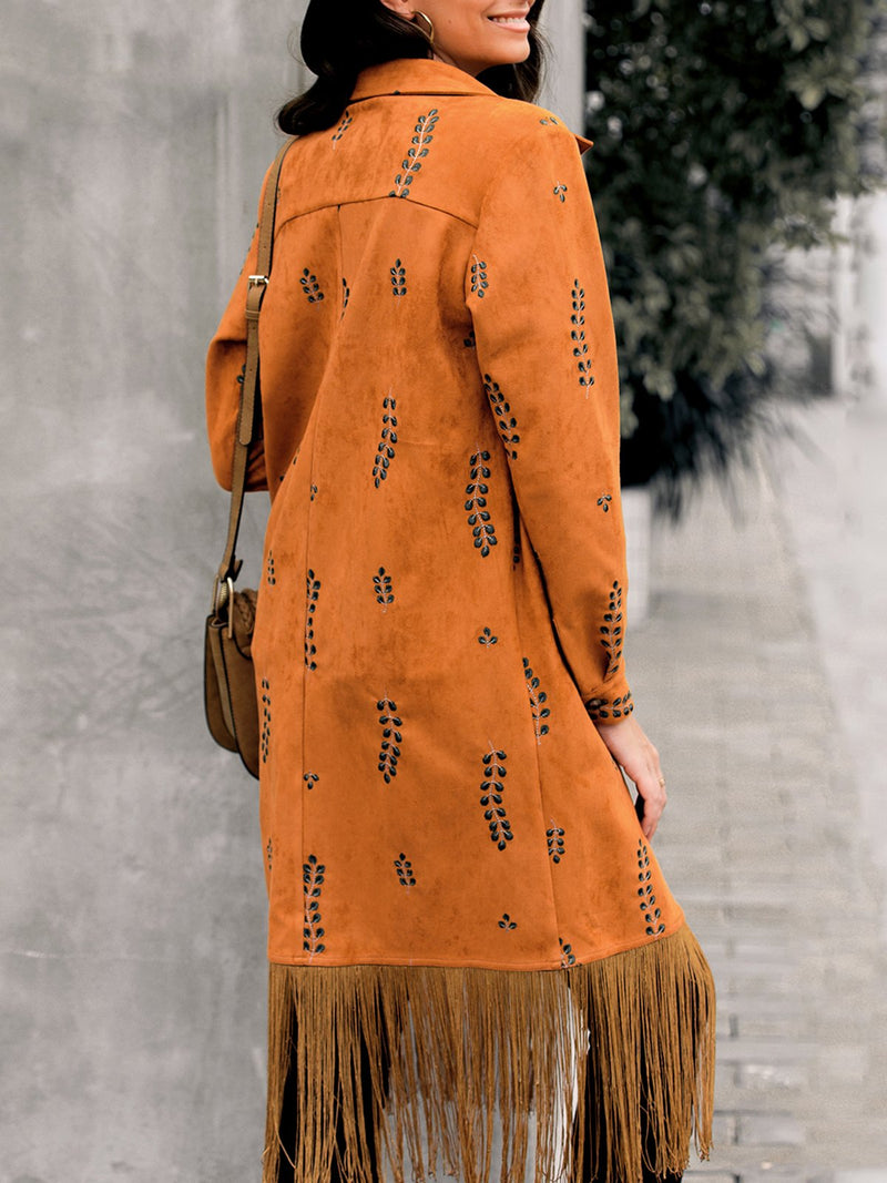 Women Embroidered Plant Suede Tassel Outerwear