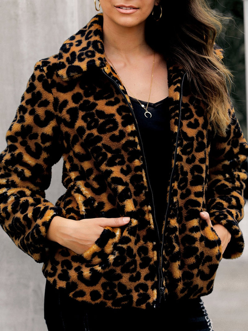 Women Brown-Leopard Print Teddybear Outerwear