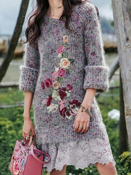 Knit Sweater Lace Patchwork Dress
