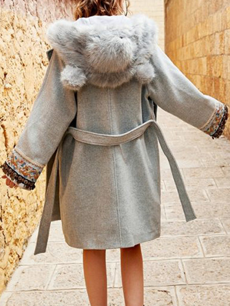 Warm Hooded Wool Blend Coat