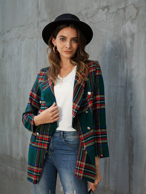 Green Casual Shift Shawl Collar Outerwear