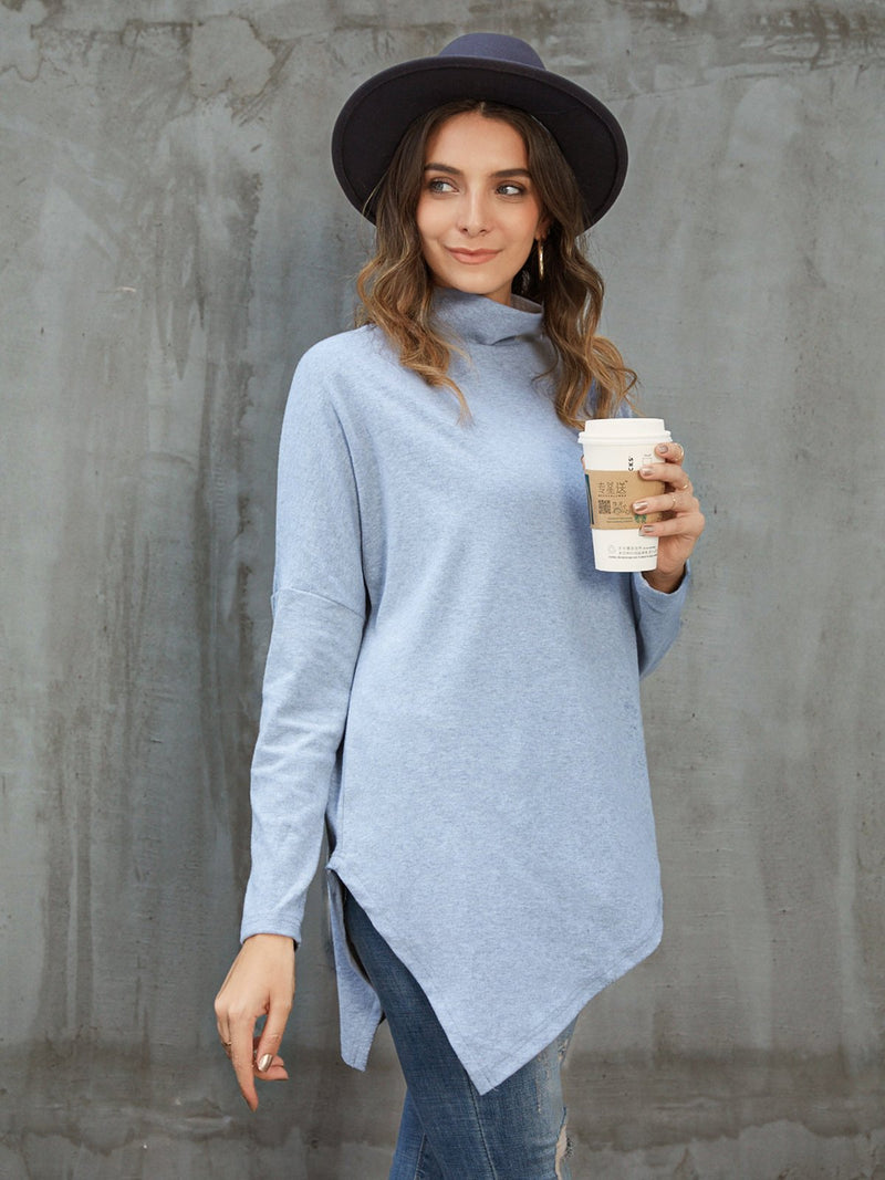 Gray Cowl Neck Casual Shirts & Tops