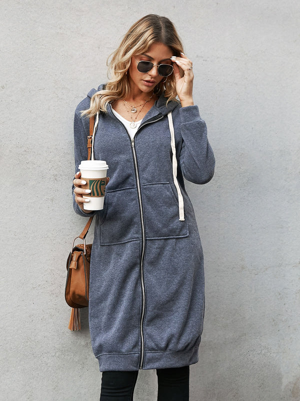 Dark Gray Casual Long Sleeve Hoodie Outerwear