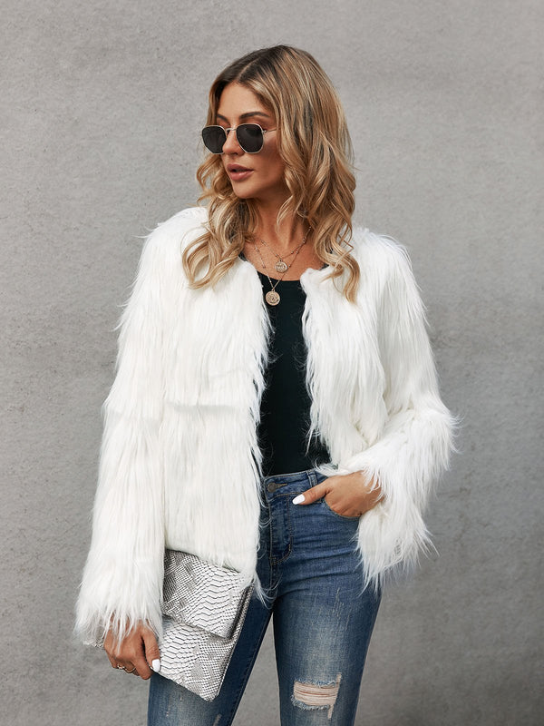 White Shift Long Sleeve Faux Fur Outerwear