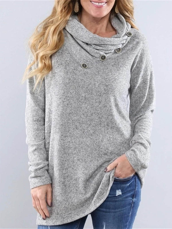 Casual Cotton-Blend Buttoned Cowl Neck Sweatshirt
