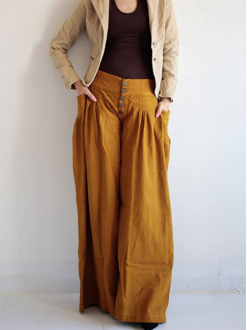 Casual high waist loose wide leg pants