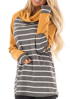 Color-Block Long Sleeve Checkered/plaid Cowl Neck Sweatshirt