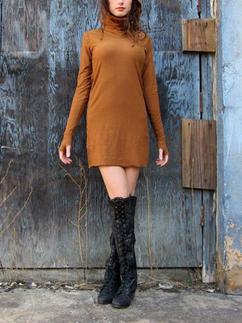 Casual stand collar long sleeve dress