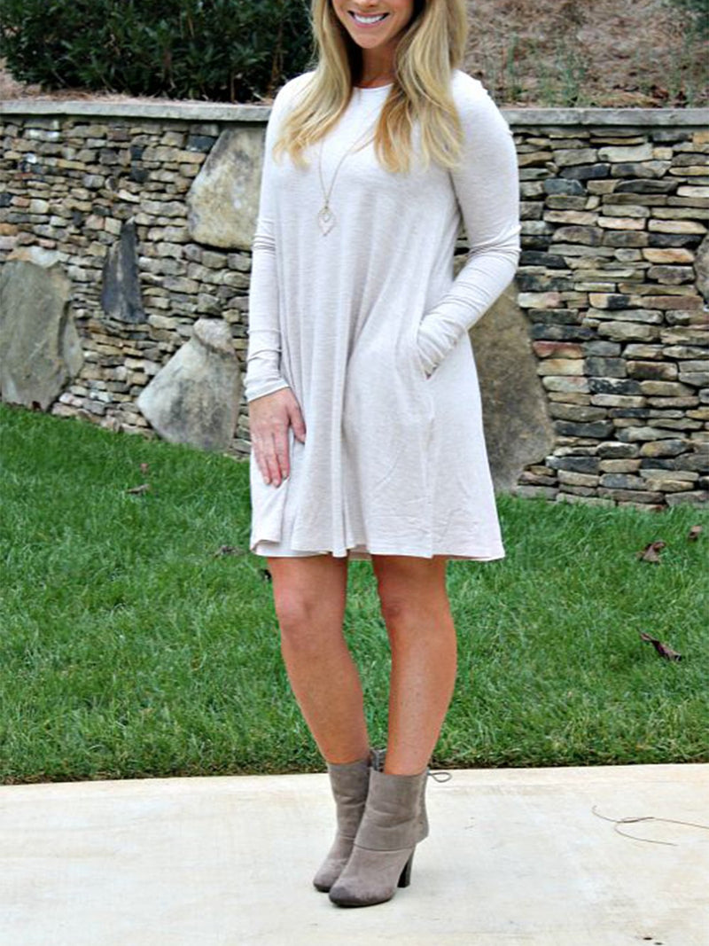 Casual minimalist long sleeve dress