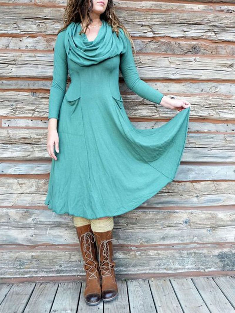 Casual high neck large swing long sleeve dress