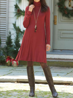 Casual simple high neck long sleeve dress