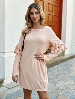 Pink Long Sleeve Tiered Dresses