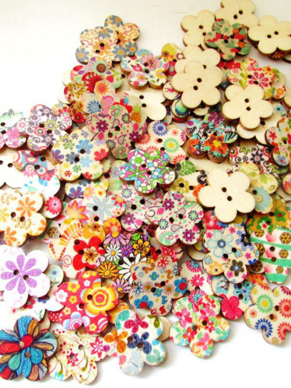 100Pcs Multi-Color Wooden Buttons Round Sewing Buttons For DIY Craft Bag Hat Clothes Decoration 25mm