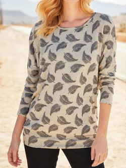 Apricot Casual Leaf Crew Neck Shirts & Tops