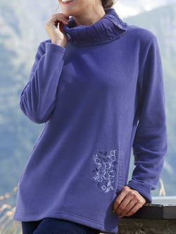 Purple Turtleneck Cotton-Blend Simple Buttoned Sweater