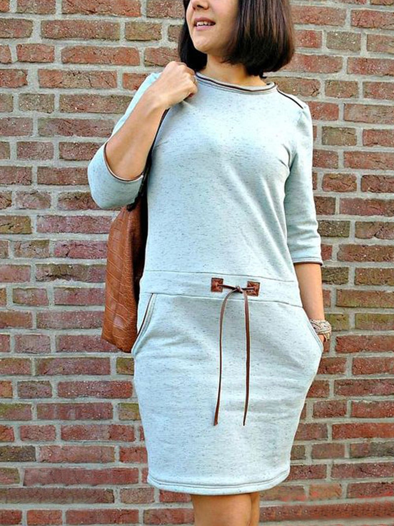 Crew Neck Shift Long Sleeve Knitted Dresses