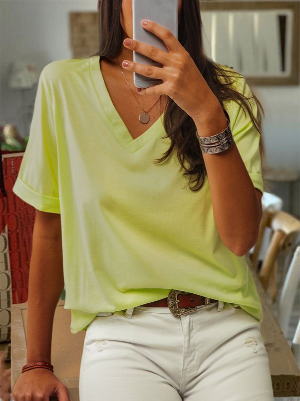 Casual Cotton V Neck Solid Shirts & Tops