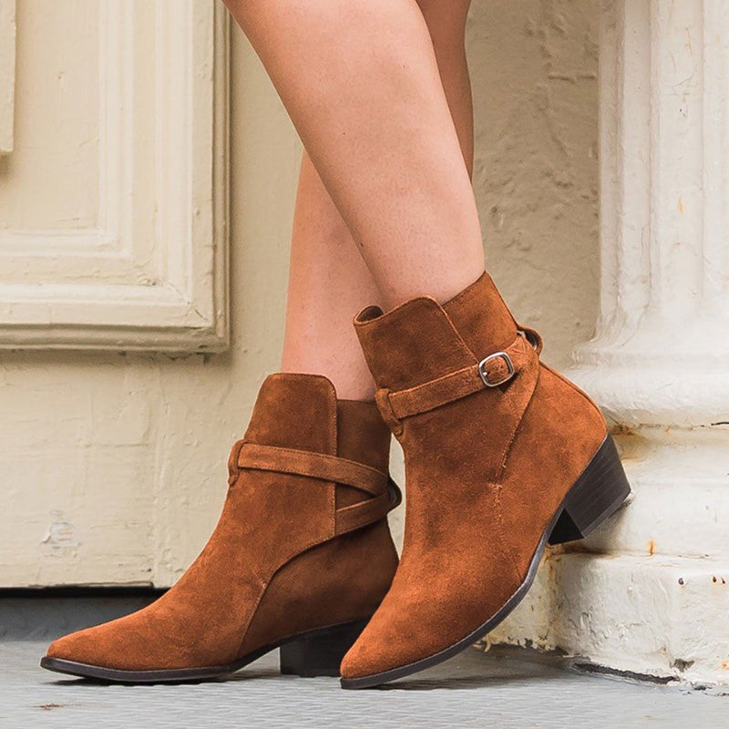 Women Casual Daily Suede Buckle Strap Ankle Boots
