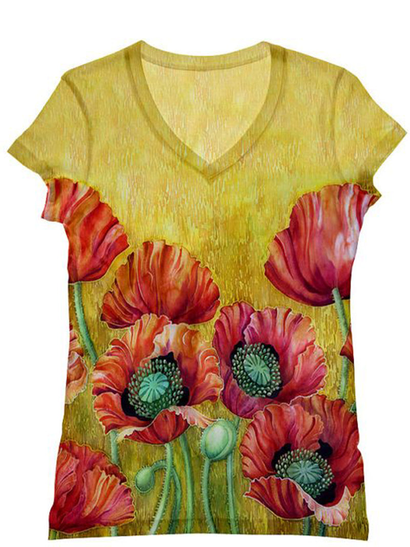 Women's  Casual V neck Floral Printed Short Sleeve Shirt & Tops