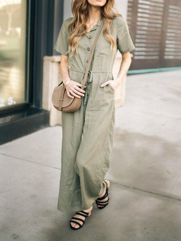 Khaki Cotton Short Sleeve Plain One-Pieces Overalls