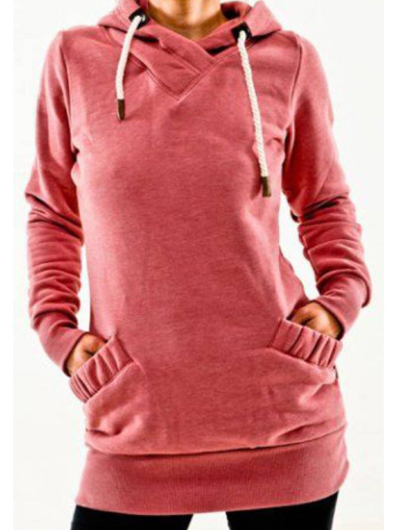 Red Hoodie Casual Cotton Shirts & Tops