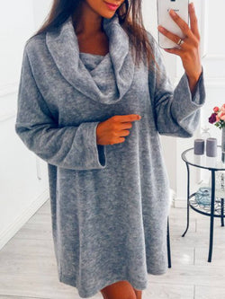 Gray Turtleneck Cotton Casual Long Sleeve Shirts & Tops