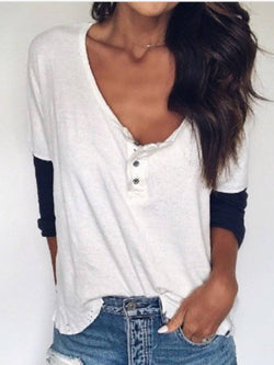 White Plain Cotton Long Sleeve Casual Shirts & Tops
