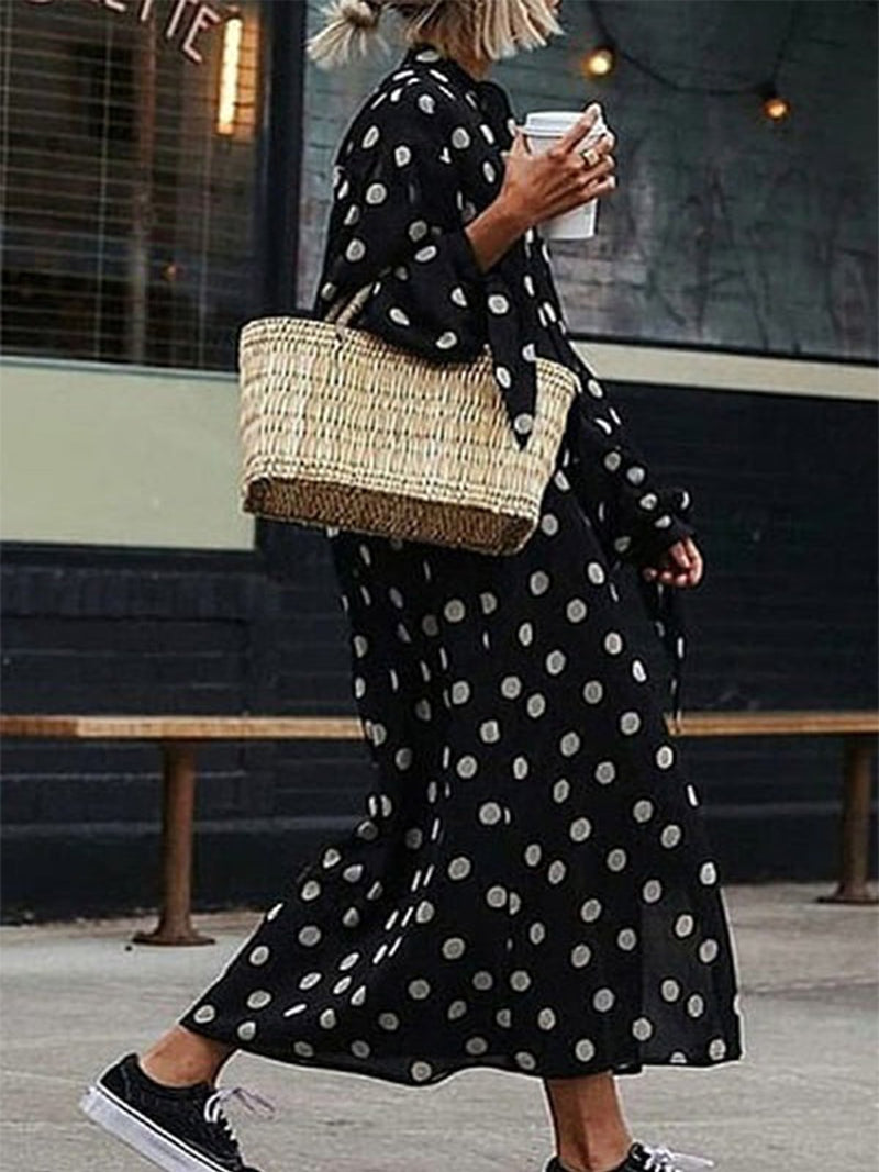 Plus Size Casual Polka Dot Long Sleeve Dress
