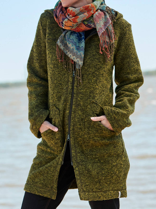 Army Green Cotton-Blend Casual Outerwear